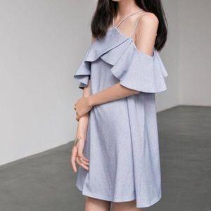 MORA Blue Flutter Strappy Off Shoulder Dress